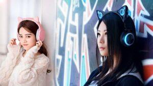 auriculares kawaii con orejas de gato neko