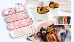 calcetines kawaii con caras y orejas de animales