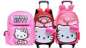 mochilas hellokitty rosa con lazo y ruedas